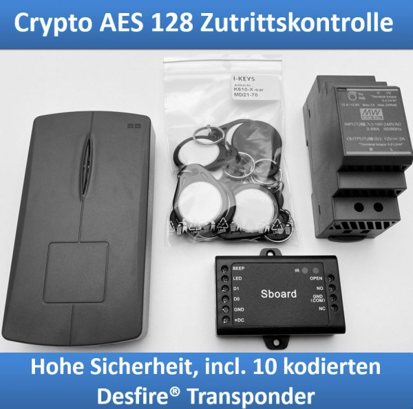 Access control with AES128 encryption for Desfire® Crypto Tags